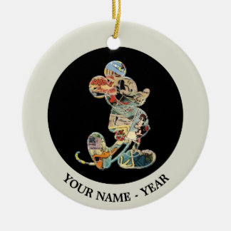 Comic Art Mickey Mouse Double-Sided Ceramic Round Christmas Ornament