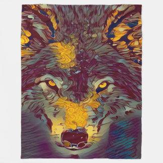 Comic Art Wolf Wildlife Artwork Fleece Blanket