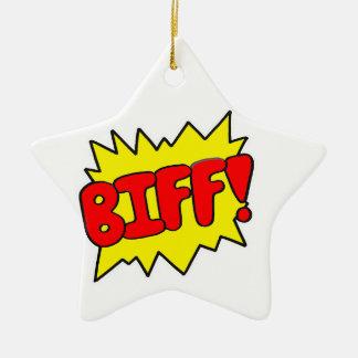 Comic 'Biff!' Ceramic Ornament