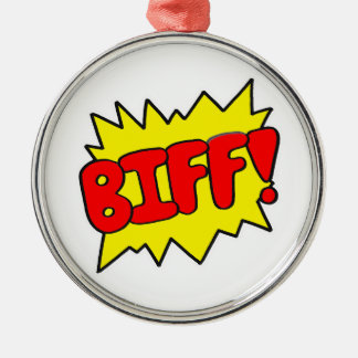 Comic 'Biff!' Metal Ornament