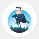 Comic Blue Superhero Round Stickers