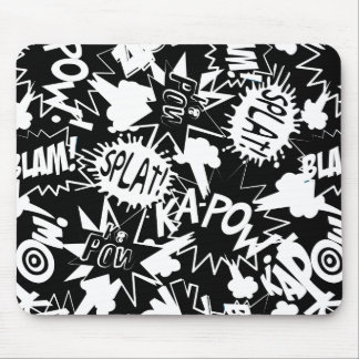 Comic book actions mouse pad