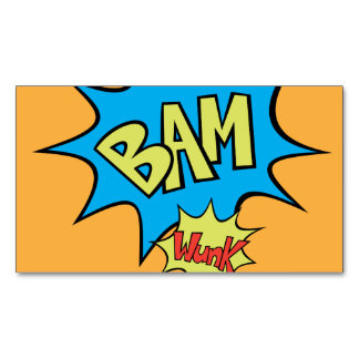 """Comic Book """"Bam"""" Balloon Magnetic Business Cards (Pack Of 25)"""