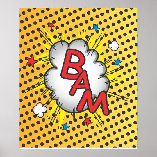 Comic Book Bam explosion poster illustration