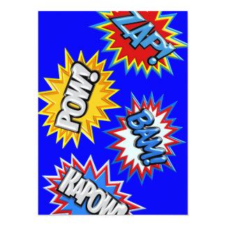 Comic Book Bursts Pow 3D MODIFY COLOR Card