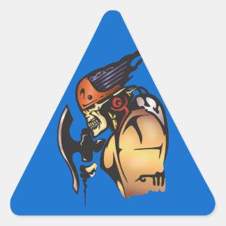 Comic Book Cyborg Skull Warrior Triangle Sticker
