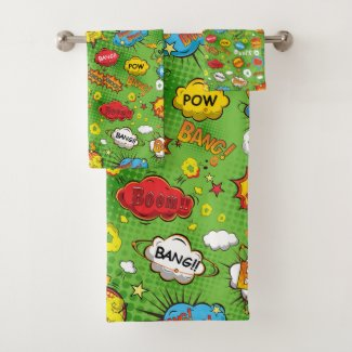 Comic Book Green Towel