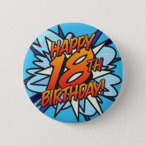 Comic Book HAPPY 18TH BIRTHDAY blue Button