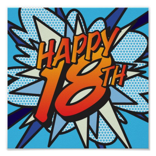 Free Comic Book Day Postcard: Comic Book HAPPY 18TH Poster