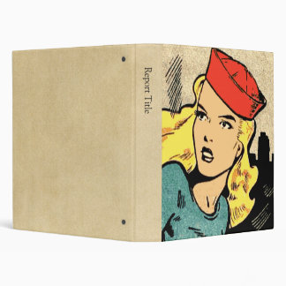 Comic Book Heroine in a Red Hat Binder