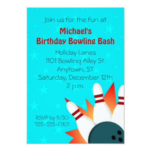Comic Book Illustration Bowling Party Invitation