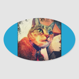 Comic Book Indigo Oval Sticker