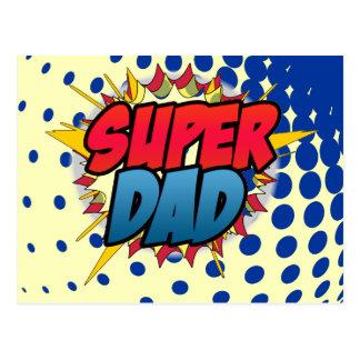Comic Book Inspired Super Dad Postcard