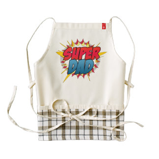 Comic Book Inspired Super Dad Zazzle HEART Apron