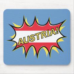 "Comic book ""kapow"" style Austrian flag Mouse Pad"