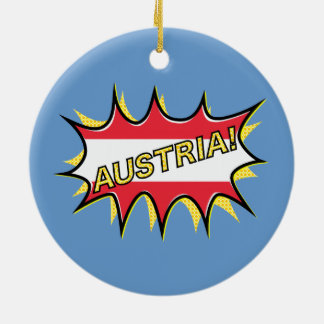 "Comic book ""kapow"" style Austrian flag Ornaments"