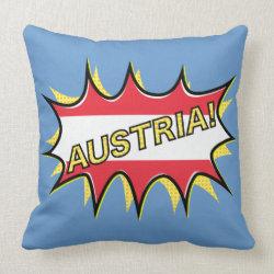 """Comic book """"kapow"""" style Austrian flag Pillows"""