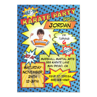 Comic Book Karate Party Invitation