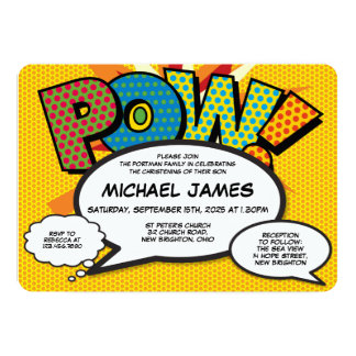 Comic Book Pop Art Baptism Christening Invitation
