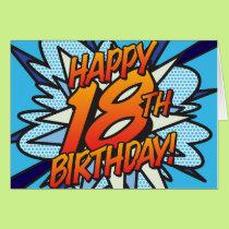 Comic Book Pop Art HAPPY 18TH BIRTHDAY blue Card