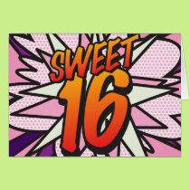 Comic Book Pop Art Pink SWEET 16 BIRTHDAY Card