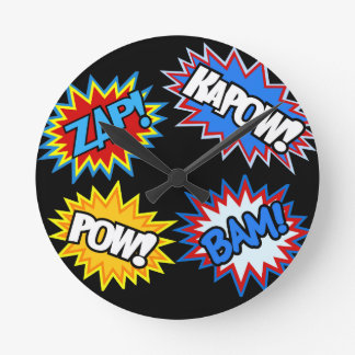 Comic Book Pow! Bursts Round Wallclocks