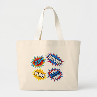 Comic Book Pow! Bursts Large Tote Bag