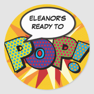 Comic Book Ready to POP! Baby Shower Classic Round Sticker