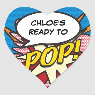 Comic Book Ready to POP! Baby Shower Heart Sticker