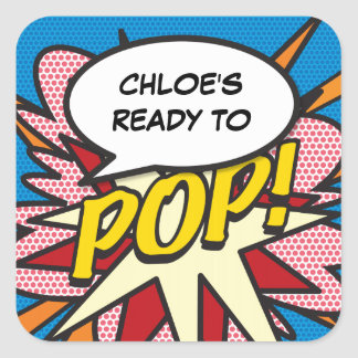 Comic Book Ready to POP! Baby Shower Square Sticker
