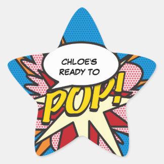 Comic Book Ready to POP! Baby Shower Star Sticker