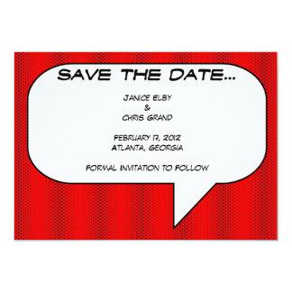 Comic book Save the Date 5x7 Paper Invitation Card