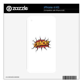 Comic Book Sound Effect - Crack! Pop Art Decal For The iPhone 4