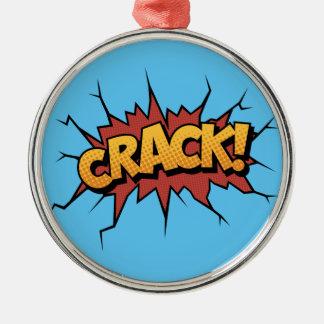 Comic Book Sound Effect - Crack! Pop Art Metal Ornament