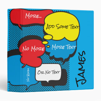 Comic Book Speech Bubbles 3 Ring Binder