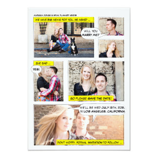 Comic Book Strip Save the Date Card