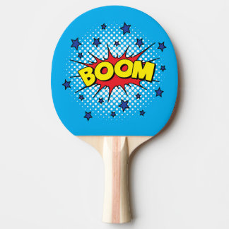 Comic Book Style Colorful BOOM Ping-Pong Paddle