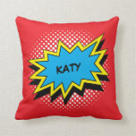 Comic Book Style Colorful Custom Name Pillow
