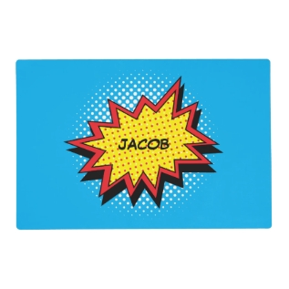 Comic Book Style Colorful Custom Name Placemat at Zazzle