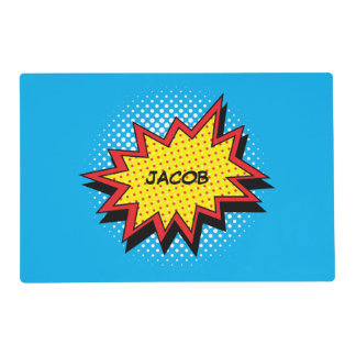 Comic Book Style Colorful Custom Name Placemat