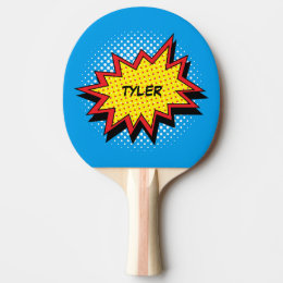 Comic Book Style Colorful Name Ping-Pong Paddle