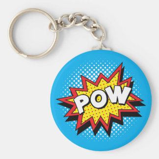 Comic Book Style Colorful POW Keychain