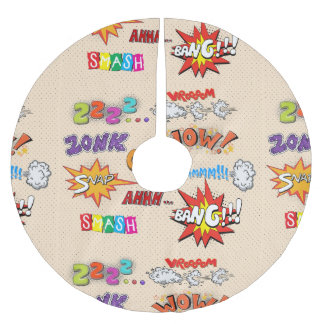 Comic Book Style Expressions Design Brushed Polyester Tree Skirt
