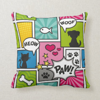 Comic Book Style Pet Pattern Throw Pillow