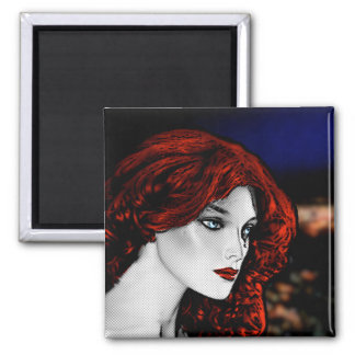 Comic Book Style Redhead 2 Inch Square Magnet