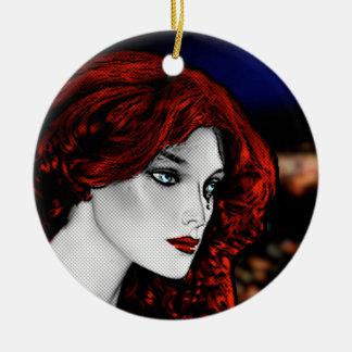 Comic Book Style Redhead Ornament