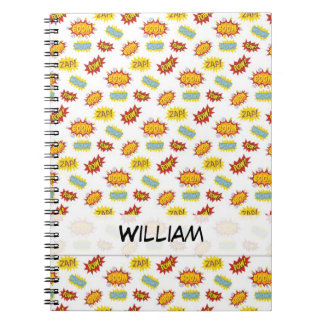 Comic book style sound effect pattern notebook