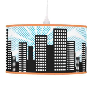 Comic Book Super Hero Boys Bedroom Decor Blue City Hanging Lamp