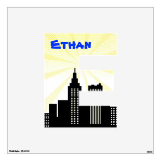 Comic Book Super Hero Kids Name Letter Yellow Blue Wall Decal