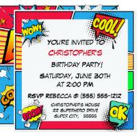 Superhero invitations announcements zazzle comic book superhero birthday boy custom stopboris Gallery